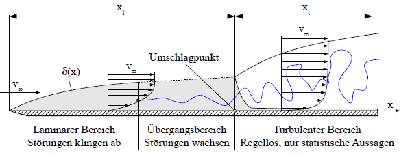 Grenzschichtentwicklung an einer ebenen Platte
